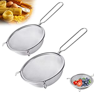 2 Pack Stainless Steel Mesh Strainer,Double-Ear Kitchen Strainer,Food Fine Strainer Sieve for Flour Filter,Eggs,Juice,Vegetables,Fruits,Pasta,Noodles,6Inch/8Inch
