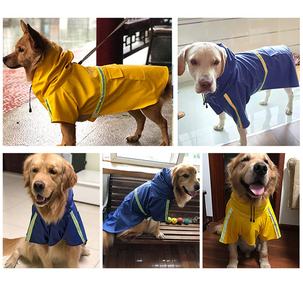 Amarillo 5XL gudong Perro Chubasqueros-Abrigo Impermeable para Perros Ligero con Tira Reflectante para Perros medianos Grandes peque/ños