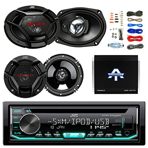 "JVC CD/MP3 AM/FM Radio Player Car Receiver Bundle Combo with 2x JVC 300W 6.5"" 2-Way Car Audio Speakers, 2 x 6x9"" 3-Way Stereo Speaker, 1600 Watt Class A/B Amplifier, Boss 8gauge amp Install Kit"