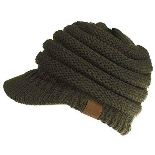 9bb2342a9eba6 Dukars Women s Warm Chunky Cable Knit Messy Bun Hat Ponytail Visor Beanie  Cap (Army Green