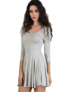 aa1f960a3a7 CHARLES RICHARDS CR Women's Scoop Neck 3/4 Sleeve Plain Skater Mini Dress