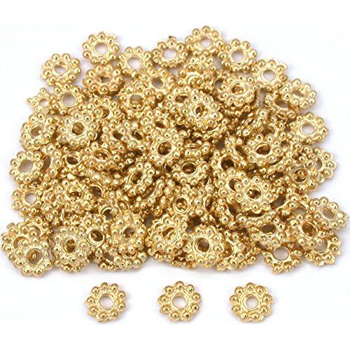 Spacer Daisy Beads Style Bali - Daisy Flower Bali Spacer Beads Gold Plt 6mm Approx 84