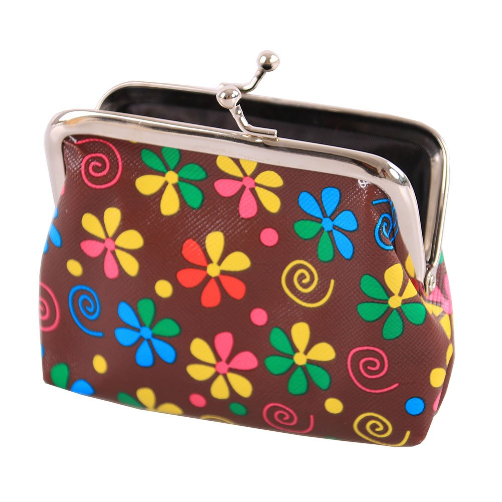 Winchanse PVC Leather Flowers Pattern Coin Purse Clasp Closure Horizontal Wallet