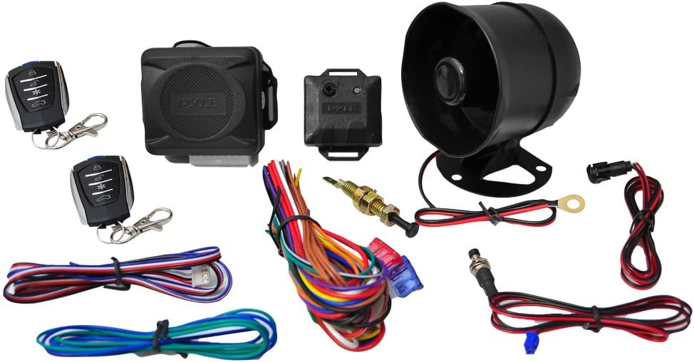 Pyle Car Alarm Security System 2 Transmitters w// 4 Button Remote Door Lock Vehicle Ignition Locks Status Indicator LED w// Sensor Bypass Valet Override Switch /& 2 Auxiliary Outputs PWD701