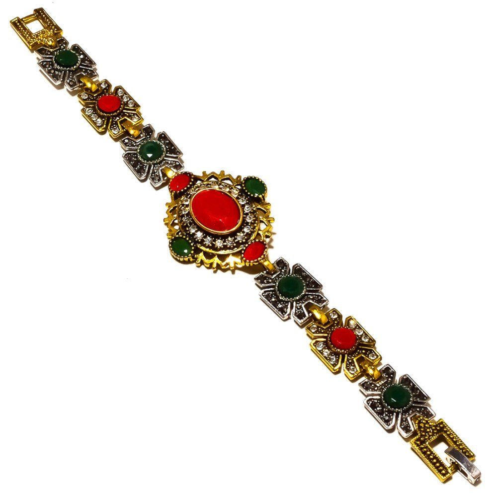 Turkish Style Dyed Ruby Silver Plated-Brass Bracelet 7-9 Handmade Jewelry Dyed Emerald