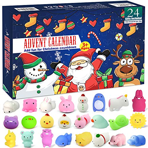 EZIGO Advent Calendar 2019 Christmas Countdown Calendar for Girls Boys Kids 24Pcs Christmas Animals Mochi Squishies Toy Xmas Party Favor Gifts