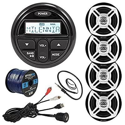 "Milenna PRV17 Marine Gauge Style AM/FM Radio Stereo Receiver Media Player Bundle Combo With 4x Enrock 6.5"" Black/Chrome Audio Speakers + USB/AUX To RCA Cable + 22"" Radio Antenna + 50 Ft Speaker Wire"
