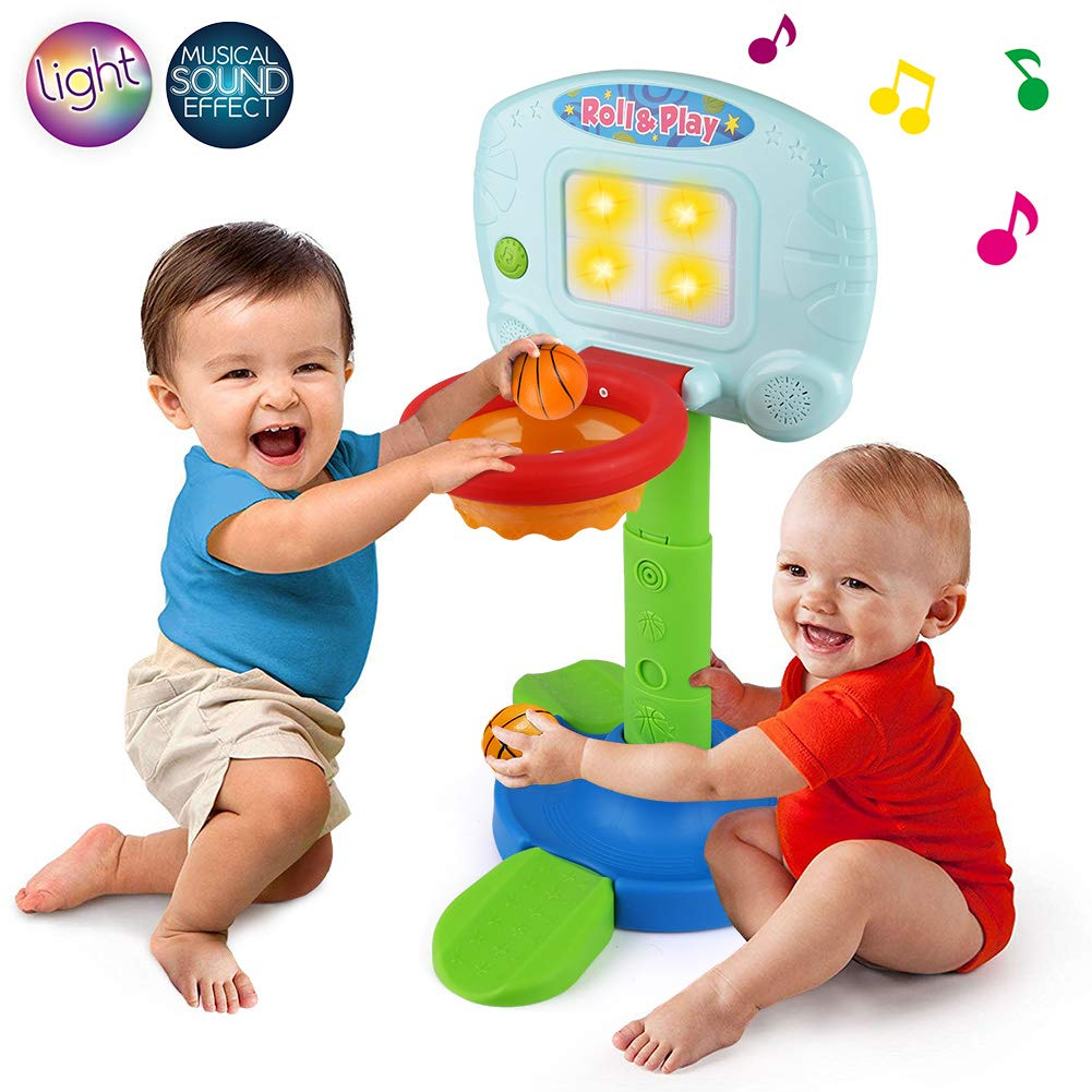 LotFancy Basketball Hoop for Kids Toddlers, Infant 2 in 1 Sports Toy Set, with Light and Music Sound Effect, Baby Electronic Interactive Learning Toy, 18 Months Above, Battery Included by LotFancy