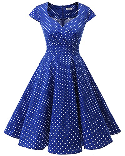 Bbonlinedress Women Short 1950s Retro Vintage Cocktail Party Swing Dresses RoyalBlue Small White Dot XS]()