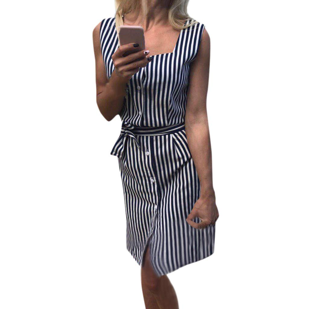 66c5d12747f0 Womens Sleeveless Button Striped Print Dresses Casual Slim Fit Party  Cocktail Dress With Belt  Clothing