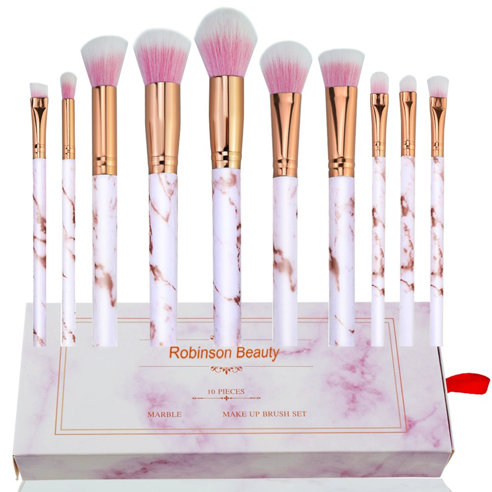 Robinson Fency Makeup Brushes Set Professional Synthetic Make-up Brush Kit Marble Handle Design Eyeliner Eyeshadow Foundation Blush Powder Liuqids Cosmetics Tool Kit (Pink)