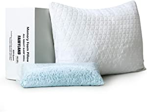 FAIRYLAND Shredded Memory Foam Bed Pillow for Sleeping Adjustable, with Removable Cooling Bamboo Derived Rayon Zipperd Cover, CertiPUR-US Certified (Queen,1 Pack)