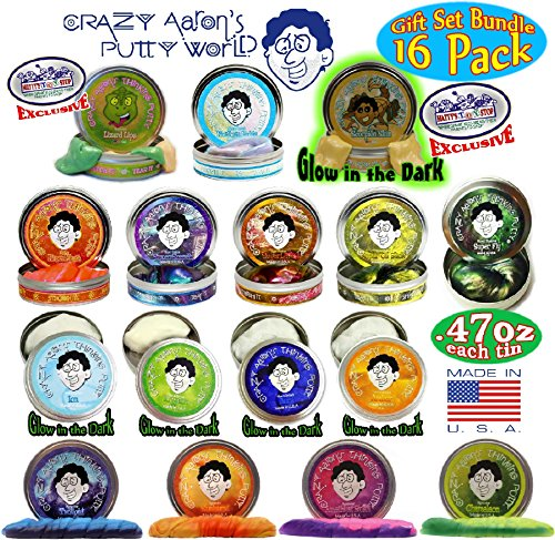(Crazy Aaron's Thinking Putty Mini Tins Complete Gift Set, 16 Pack)