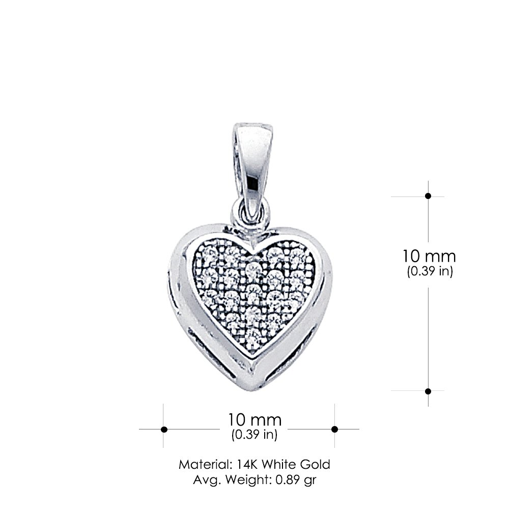 14K White Gold Heart Cluster Cubic Zirconia CZ Charm Pendant For Necklace or Chain