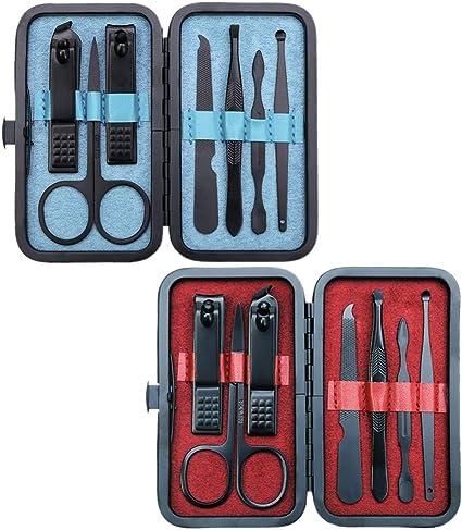 Profesional Set 7 en 1 Juego de manicura, 2Pcs Kit Manicura y Pedicura de Acero Inoxidable, incluye Pinzas/Tijeras/Cortaúñas/para Uñas(Negro): Amazon.es: Belleza