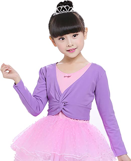 Happy Cherry Kids Girls Ballet Dance Warm-up Knit Wrap Tops Long Sleeve Front Twist Knot Cardigan Sweater