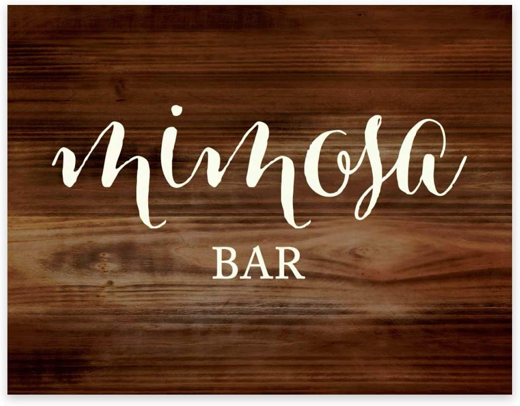 Andaz Press Wedding Party Signs, Rustic Wood Print, 8.5x11-inch, Mimosa Bar Sign, 1-Pack, Decorations for Country Western Weddings Parties, Unframed