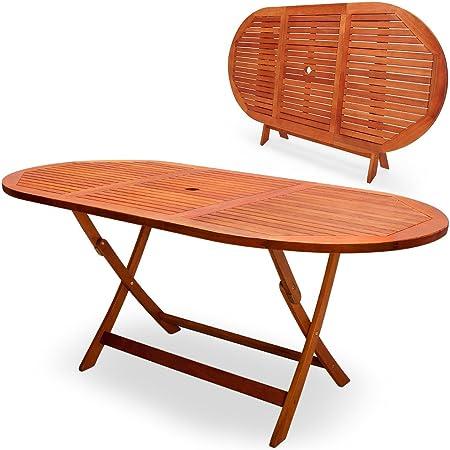 Deuba Mesa de comedor de Madera de Acacia plegable 160x85x75cm agujero para sombrilla para jardín exterior terraza: Amazon.es: Hogar