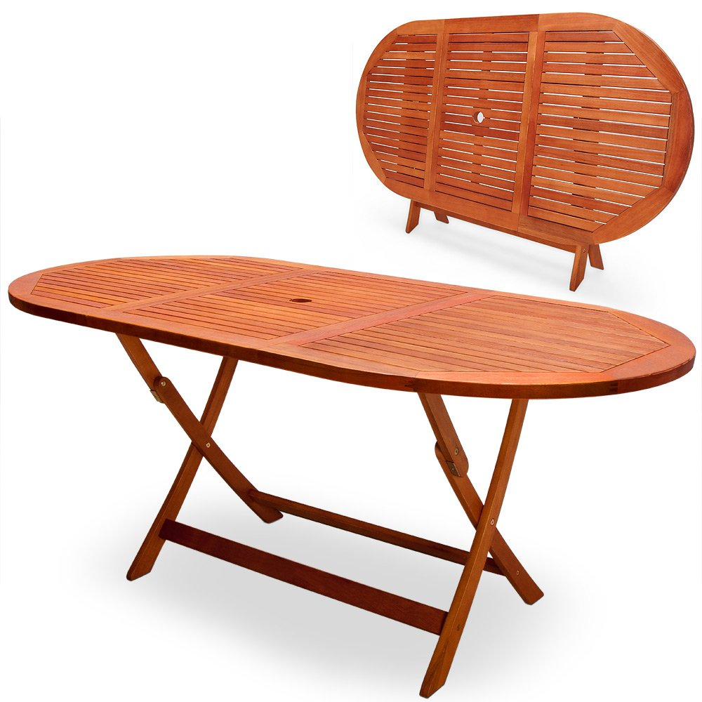 Deuba® Wooden Garden Table Alabama - FSC®-Certified Eucalyptus Wood | Folding Dining Table, 6 Seater, Parasol Hole, Garden Furniture | 160 x 85 cm 100007