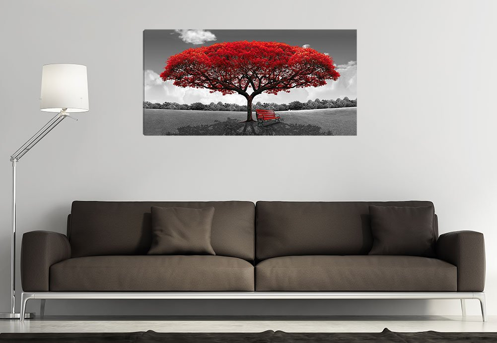 Large Black and White Picture Wall Art Large Framed Canvas Print Red Tree Bench Decor Modern Artwork for Living Room Bedroom Home Decoration by LJZart (Image #4)