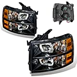 SPPC Black Headlights Assembly Set for Chevrolet Silverado (Pair) High/Low Beam Bulb Included