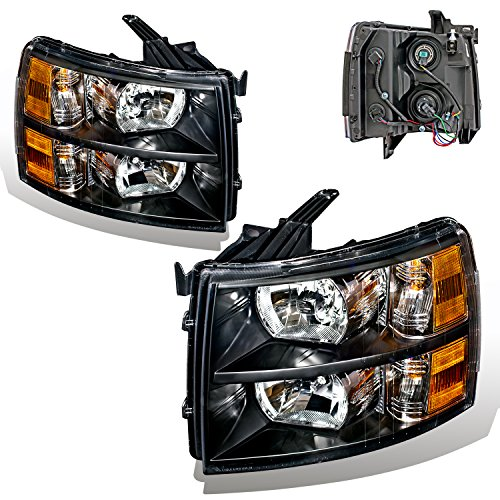 SPPC Black Headlights For Chevy Silverado (Pair) High/Low Beam Bulb (High Beam Classic Body)