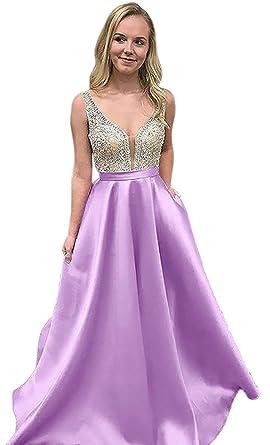 Pettus Womens Crystal V-Neck Prom Dresses Long 2018 Sequins Evening Dresses Beads Bodice Formal