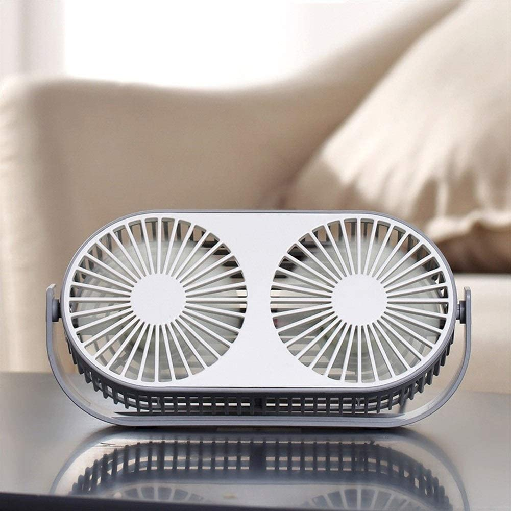 Outdoor Travel Office Color : White Shengjuanfeng USB Fans Desktop Double-Head Fan Five-Leaf USB Charging Mini Fan Student Dormitory Reading Table Fan Cute Fresh for Home