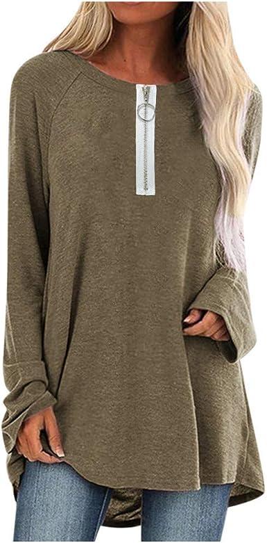Yivise Camisa con Cremallera para Mujer Talla Grande Cuello Redondo Camiseta de Manga Larga Blusa Talla Grande S-5XL: Amazon.es: Ropa y accesorios