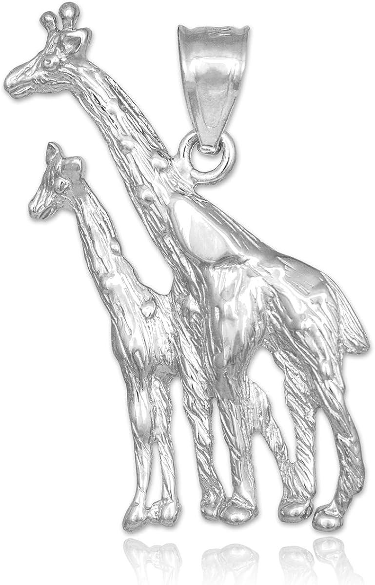 925 Sterling Silver 3-D Polished Giraffe Charm Pendant