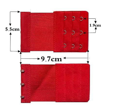 XCSSKG - Extensores de Sujetador elástico para Mujer, 3 Ganchos, 3 Unidades Rojo Rojo
