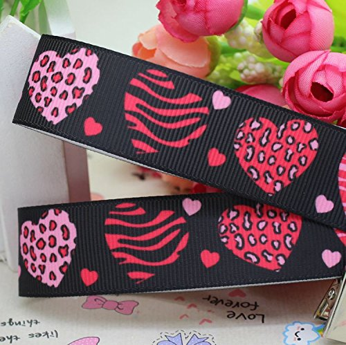 (ForShop 7/8'' 5yards Valentine Heart Grosgrain Ribbon Hair Bow DIY Party Decoration OEM Whole)