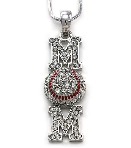 Softball Mom Rhinestone Bling Necklace Sports Mom Jewelry Crystal