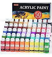 Acrylic Paint, Shuttle Art 50 Colors Acrylic Paint Set, 2oz/60ml Bottles, Rich Pigmented, Water P...