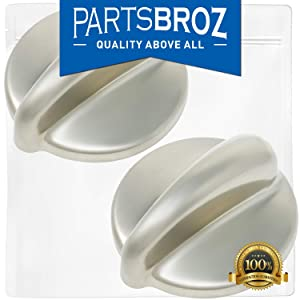 WB03K10303 Surface Burner Control Knob for GE Stoves, Chrome Finish by PartsBroz - Replaces Part Numbers AP4980246, 1810427, AH3486484, EA3486484, PS3486484, WB03K10208 (Pack of 2)