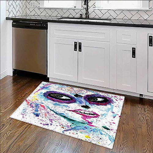 Non-Slip Thicken Carpet Grunge Halloween Lady with Sugar Skull Make up Creepy Dead Face Gothic Woman Easier to Dry for Bathroom