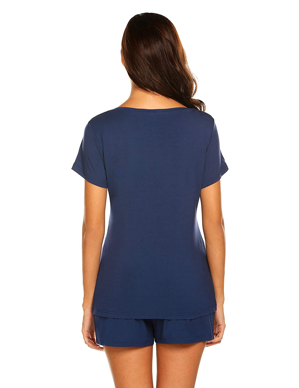 HOTOUCH Pajamas Set Short Sleeve Sleepwear Womens Printed Nightwear Pjs Sets S-XXL