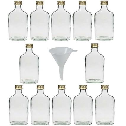 Viva-artículos de Uso doméstico - 12 Botellas de Cristal 200 ML con tapón de