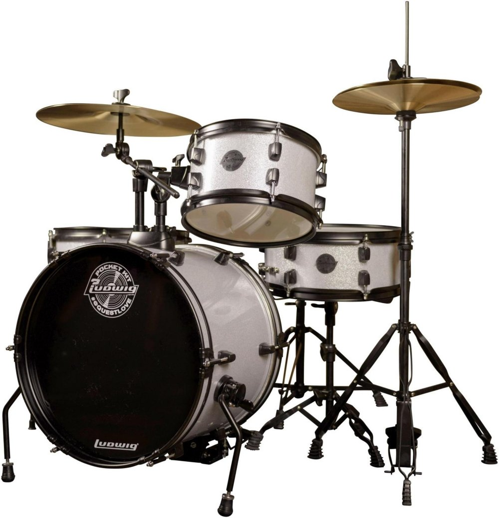 Ludwig LC178X029 Questlove Pocket 4-Piece Drum Kit in Silver Sparkle Finish