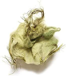 "JousJous Blue and Green Handmade Felt & Silk Thread Snowflakes Brooch, 3"" Diameter"
