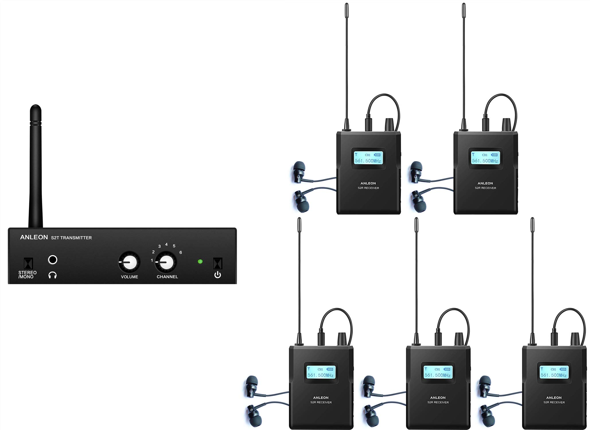 Anleon S2 Wireless Stereo in Ear Monitor System for Recording Studio Stage Audio Monitoring 561-568Mhz (1 Transmitter 5 receivers)