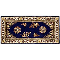 Minuteman International Blue Oriental Wool Hearth Rug, Rectangular