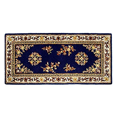 Minuteman International Blue Oriental Wool Hearth Rug, Rectangular - Measures 56-in L x 26-in W Deep Blue background with traditional persian carpet design in earthtones Made of 100% virgin wool - living-room-soft-furnishings, living-room, area-rugs - 61IP63cGpjL. SS400  -