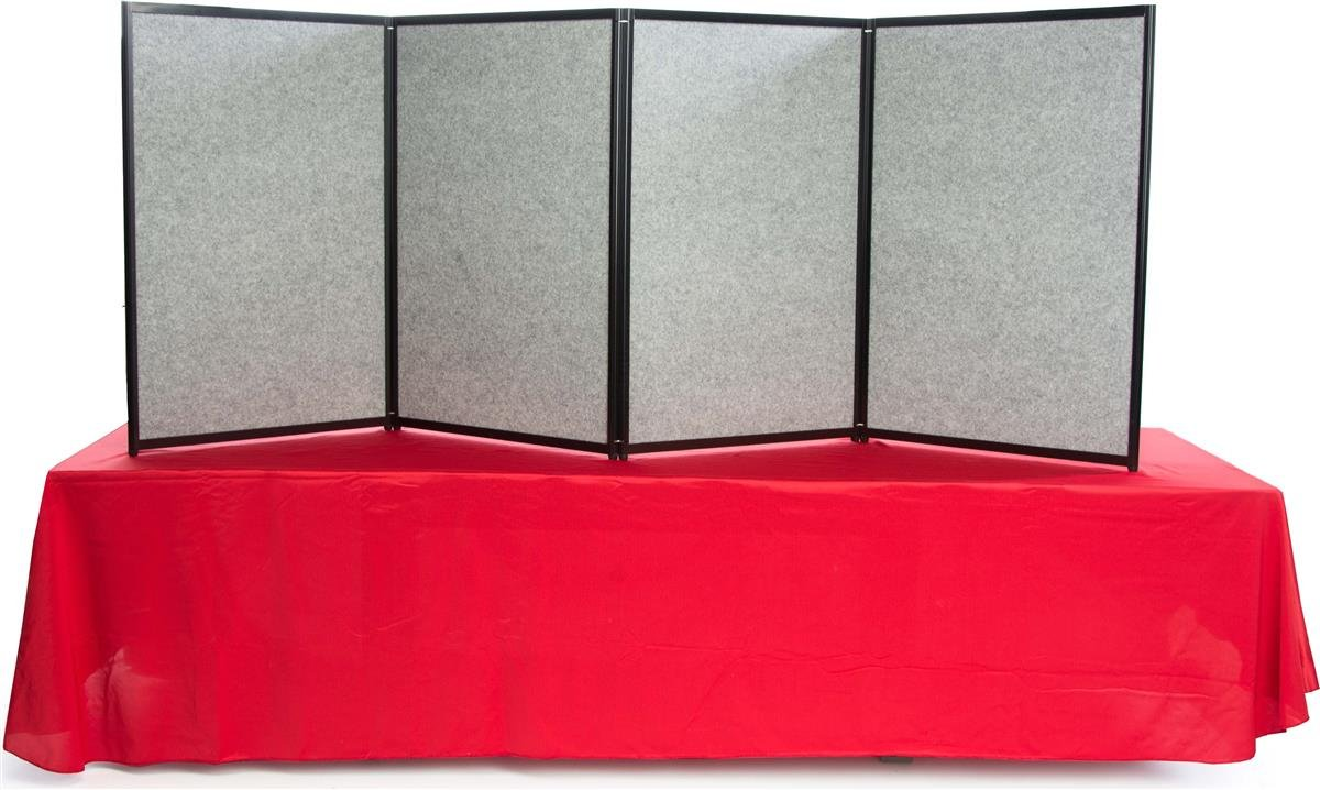 Displays2go Trade Show Presentation Board, 4 Panels Fit 8-Foot Table, Double Sided, Choose with or Without Lights (TFR9636BK) by Displays2go