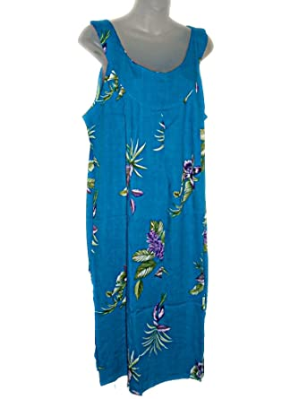 HAWAIIAN TURQUOISE FLORAL PLUS SIZE DRESS (1X-2X) TC036