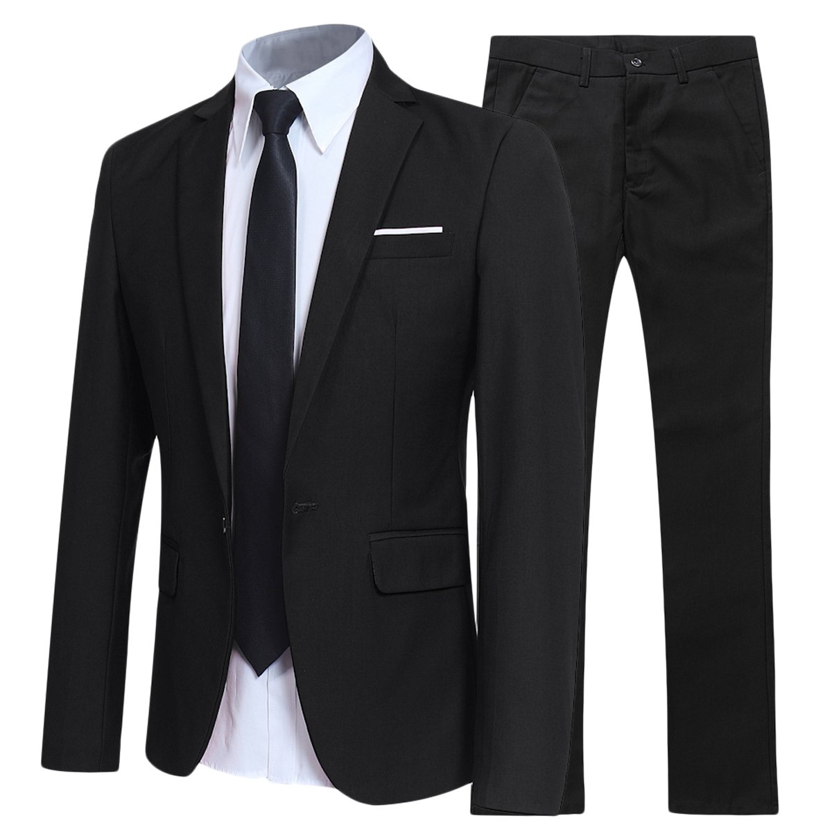 YFFUSHI Slim Fit 2 Piece Suit for Men One Button Casual/Formal/Wedding Tuxedo,XXX-Large,Black