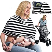 Nursing Covers- Baby Car Seat Canopy - Breastfeeding Cover Up for Boys and Girls - Multi Use Infinity Mom Scarf - Carry Bag and Baby Beanie Included by Engelstyling (White and Black)