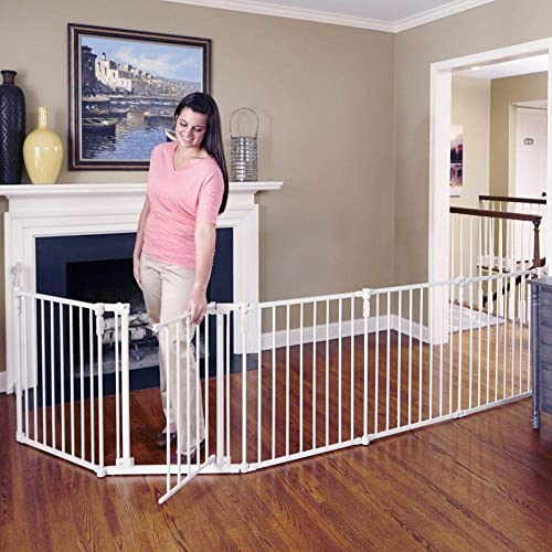 Toddleroo by North States 3 in 1 Metal Superyard 144 long extra wide baby gate, barrier or play yard. Hardware or freestanding. 6 panels, 10 sq.ft. enclosure 30 tall, Beige