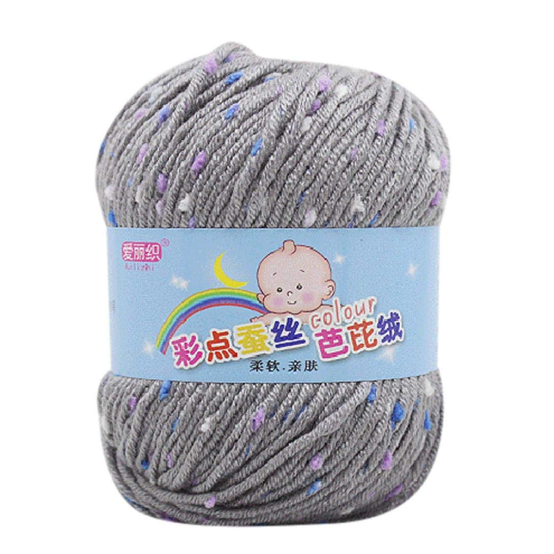 50g Colorful Barbie Silk Wool Cotton Yarn Chunky Multicolor Rainbow Hand Knitting Soft Natural Crochet Baby Cotton Knitwear Yarn Clearance On Sale for Hat, Scarf, Sweater, Gloves, etc #2 (I) Buyeverything