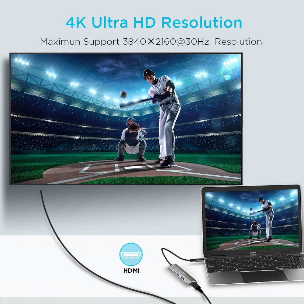HP JAJ USB 3.1 Type-c Thunderbolt 3 to HDMI 4K Note 8//9 Dell XPS Charging Port Compatible MacBook Pro iPad Pro 2018 Samsung S8//S9//S10 2 x USB USB C to HDMI Multiport Hub Adapter